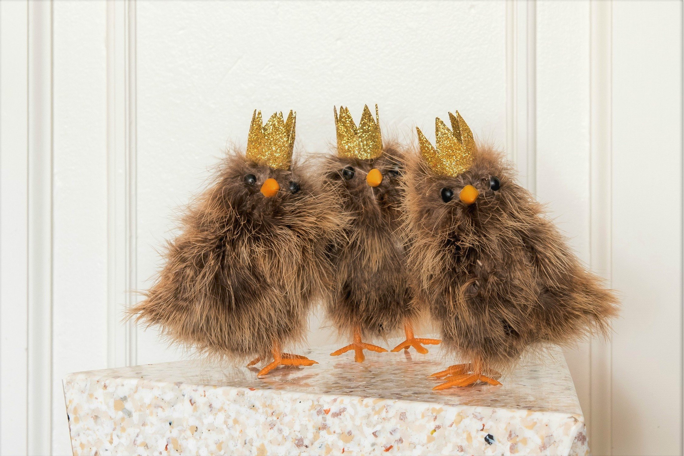 Brown Feathery Chicks with Crowns (15 cm) - Set of 3