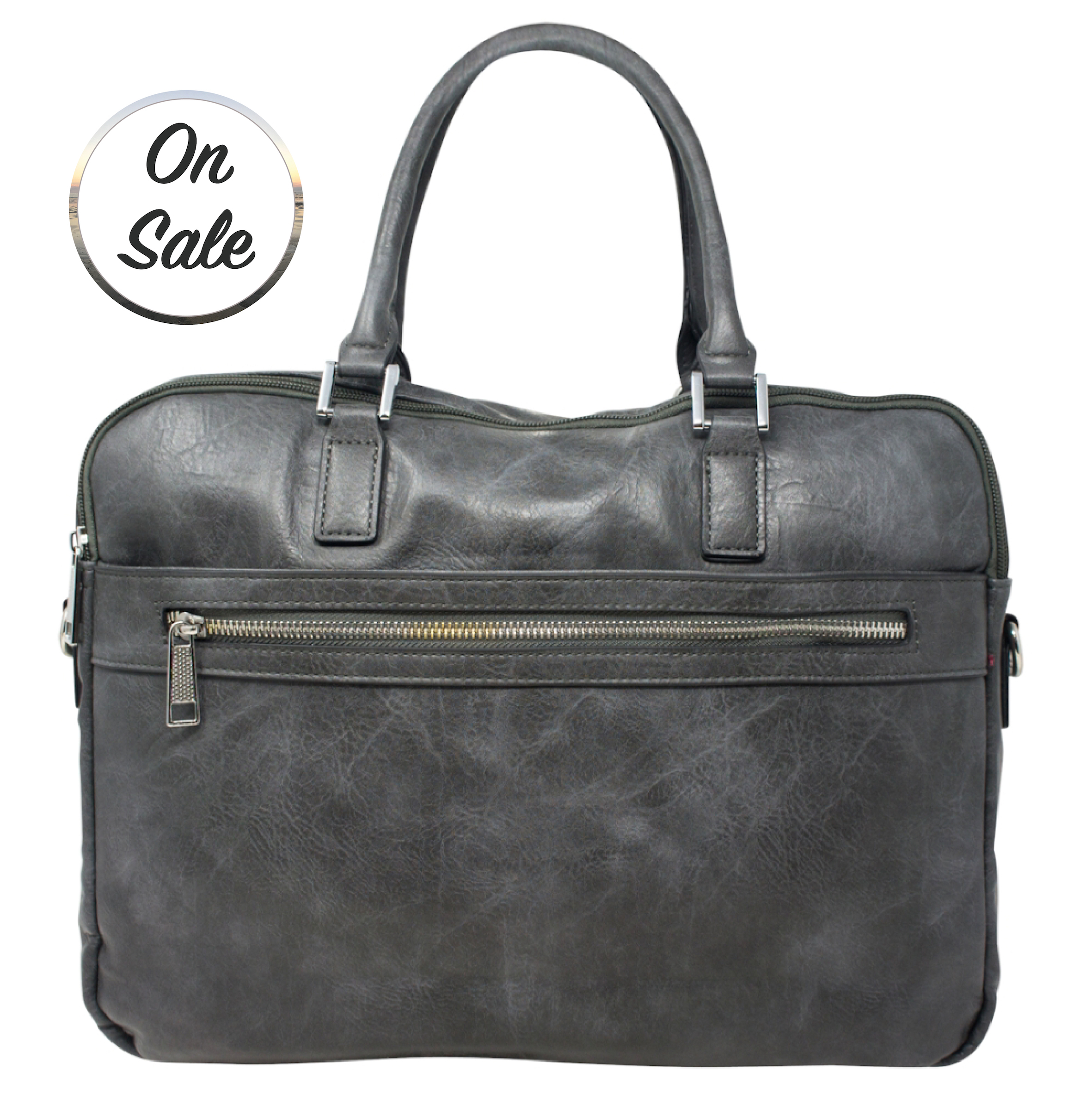 Soft Briefcase Bag - Grey