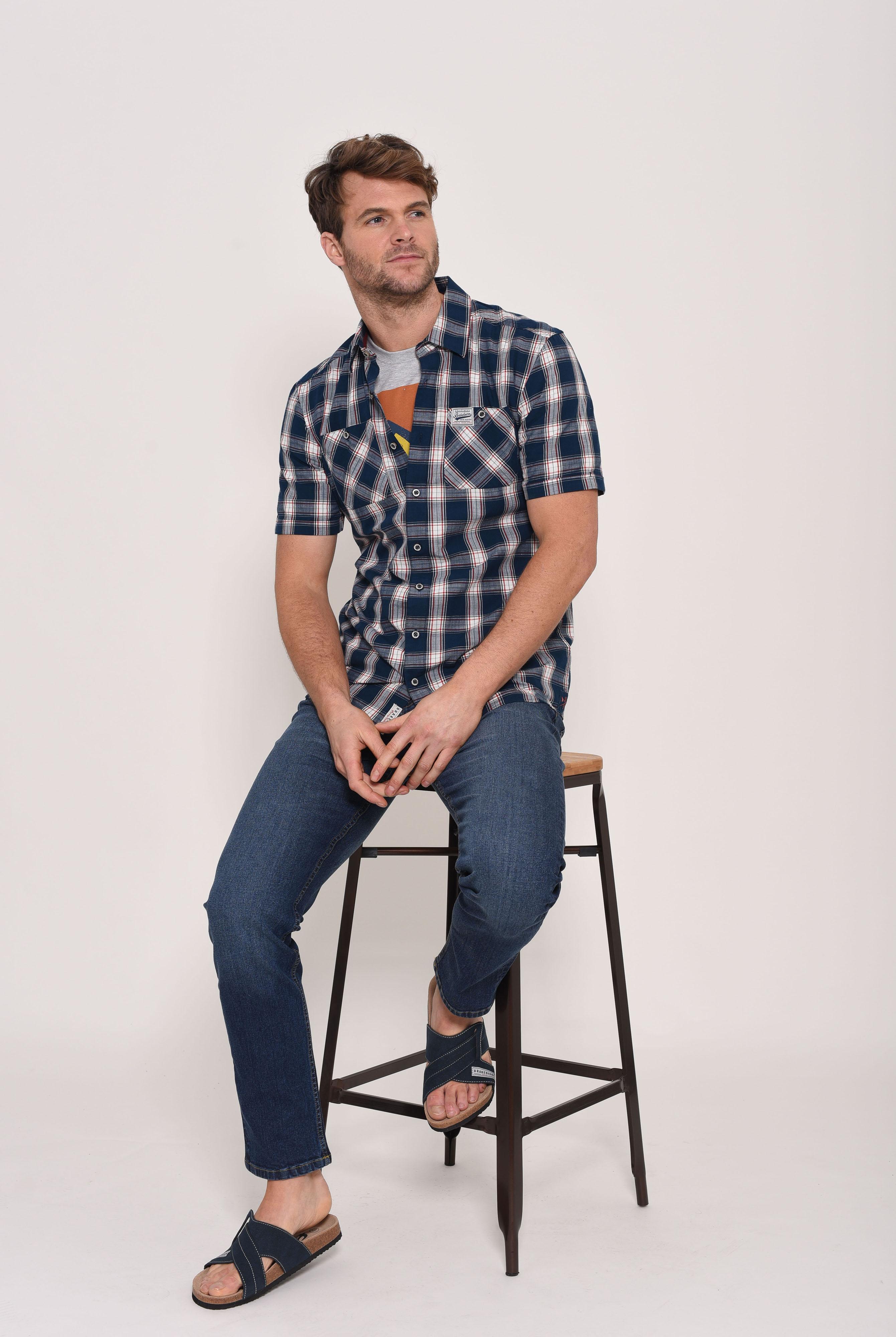 Brakeburn Short Sleeve Shirt - Blue Check