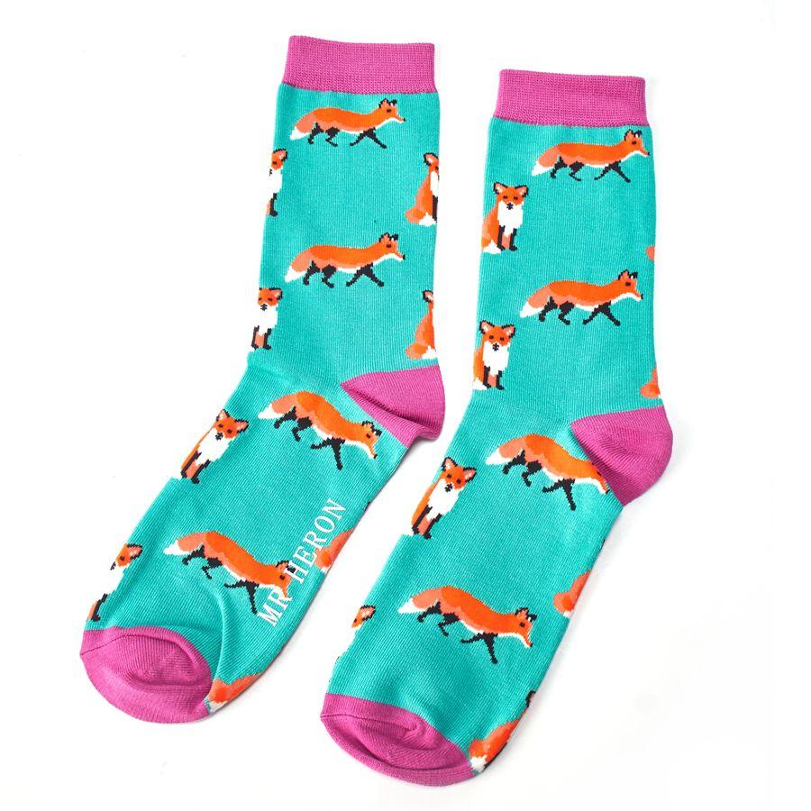 Men's Foxes Bamboo Socks - Green