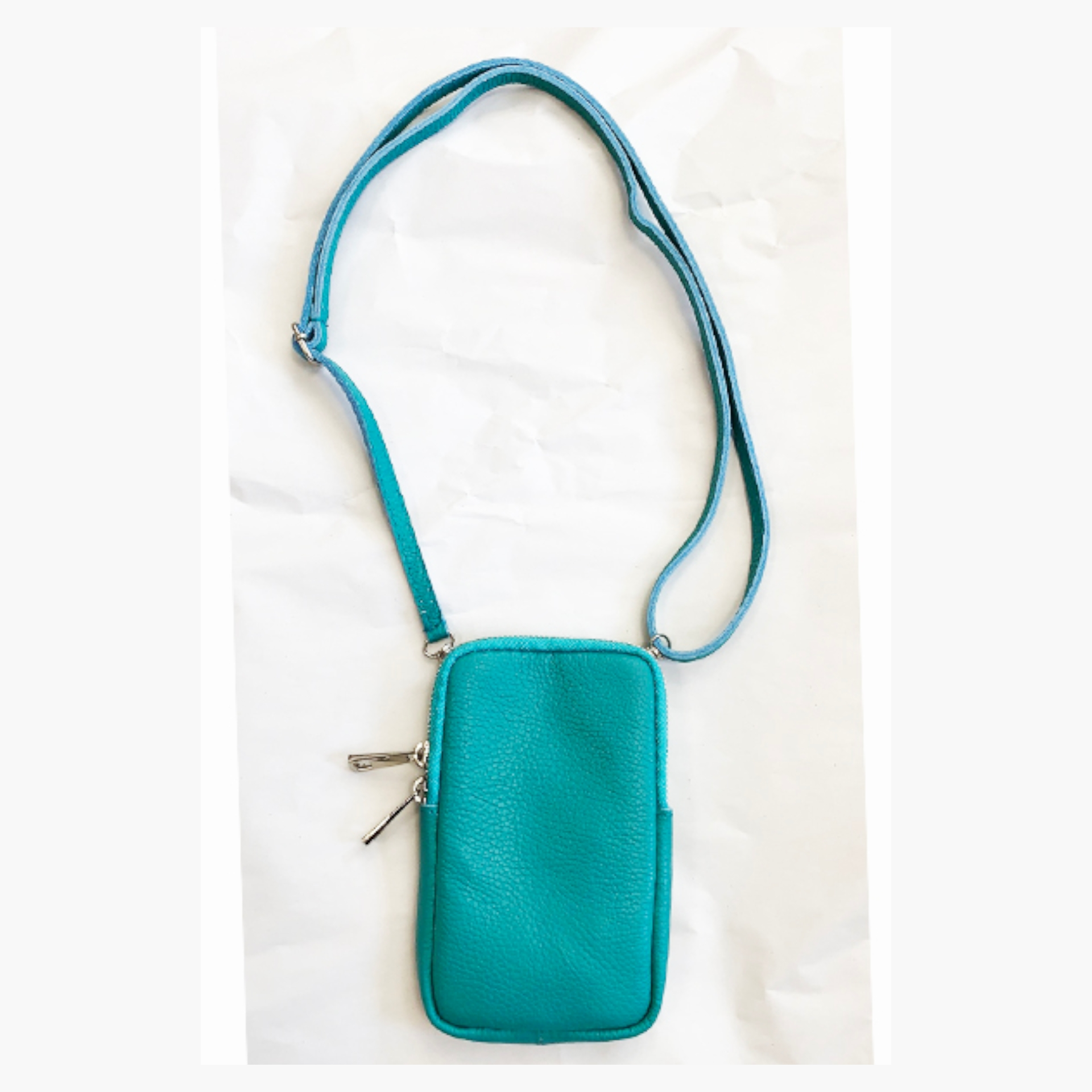 Real Leather Cross Body Mobile Pouch - Turquoise