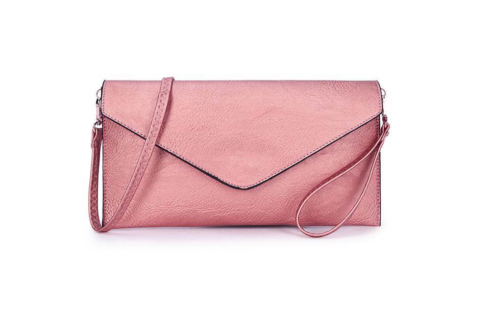 Envelope Clutch Bag - Metallic Pink