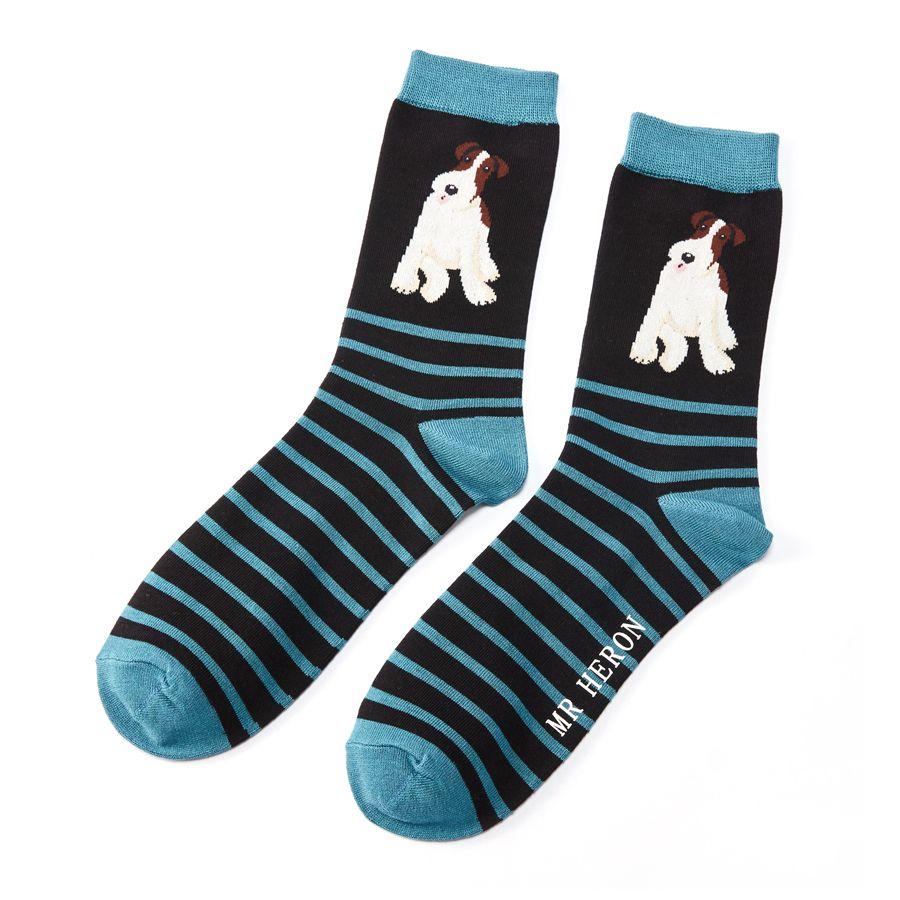 Men's Fox Terrier Stripes Bamboo Socks - Black