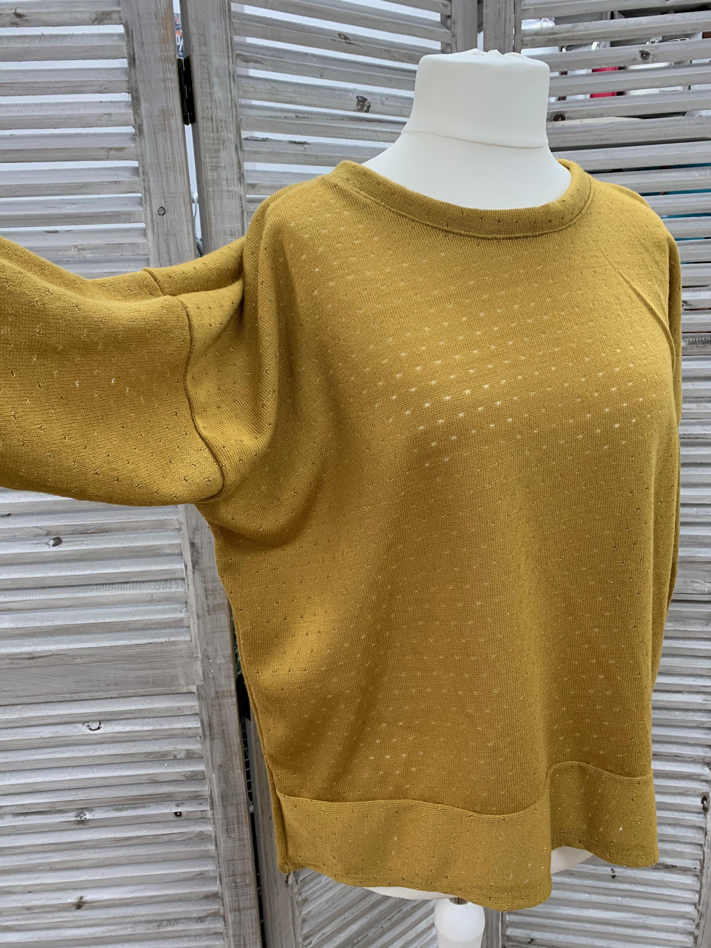 Gold Glitter Dot Fine Knit Top - Various Colours