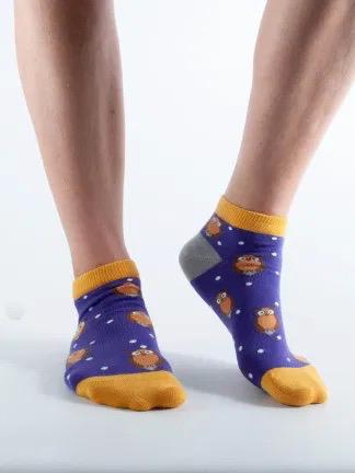 Ladies Sport Purple Owls Short Bamboo Socks