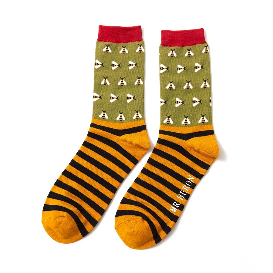 Men's Busy Bees Bamboo Socks - Olive Green