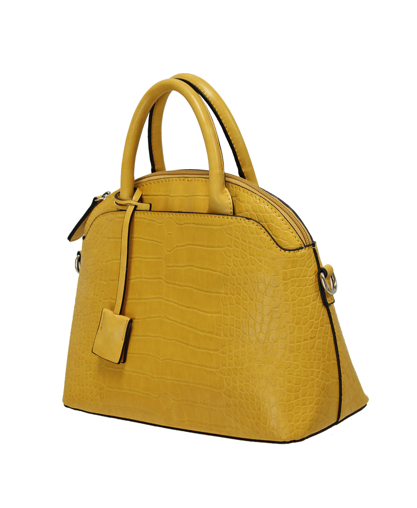Croc Print Grab Handbag - Mustard
