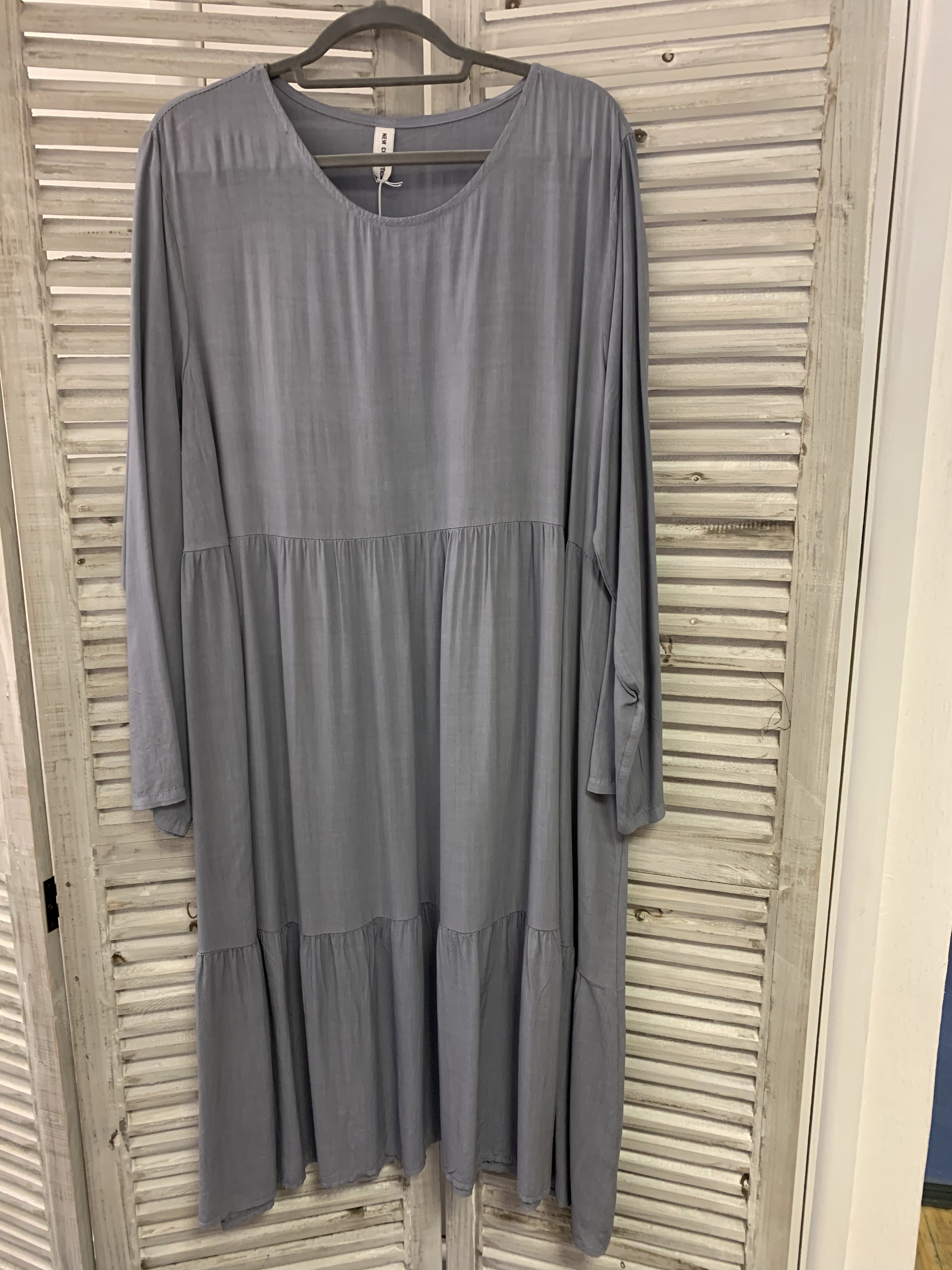 Long Silky Feel Tiered Dress - Various Colours