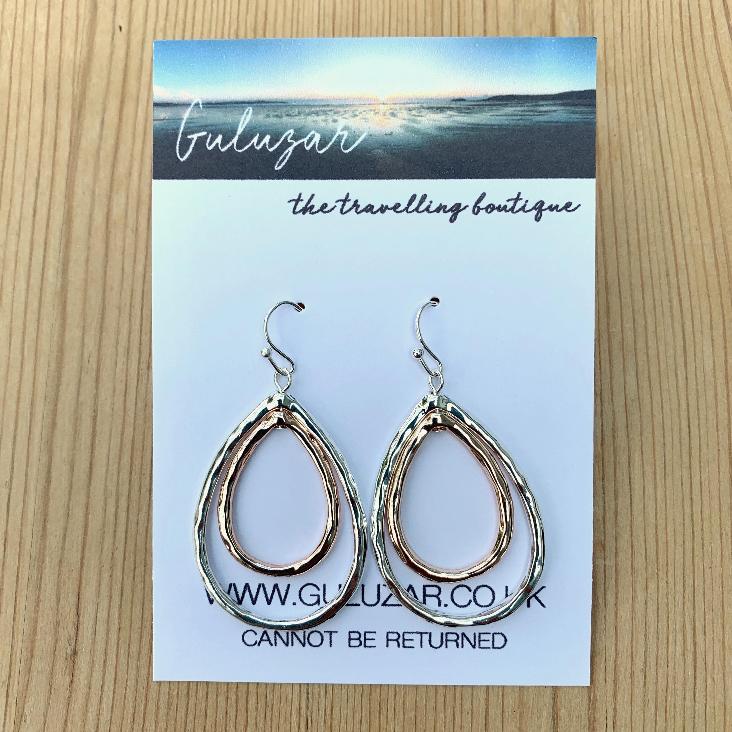 Tear Drop Earrings - Rose Gold/Silver
