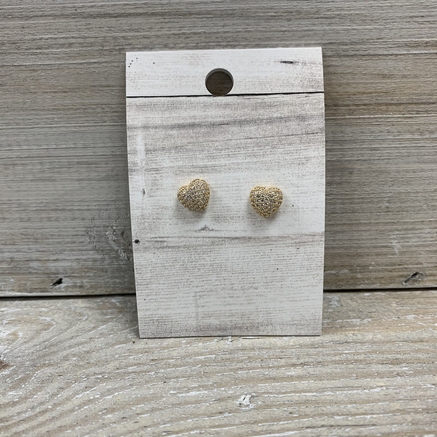 Sparkly Gold Heart Stud Earrings