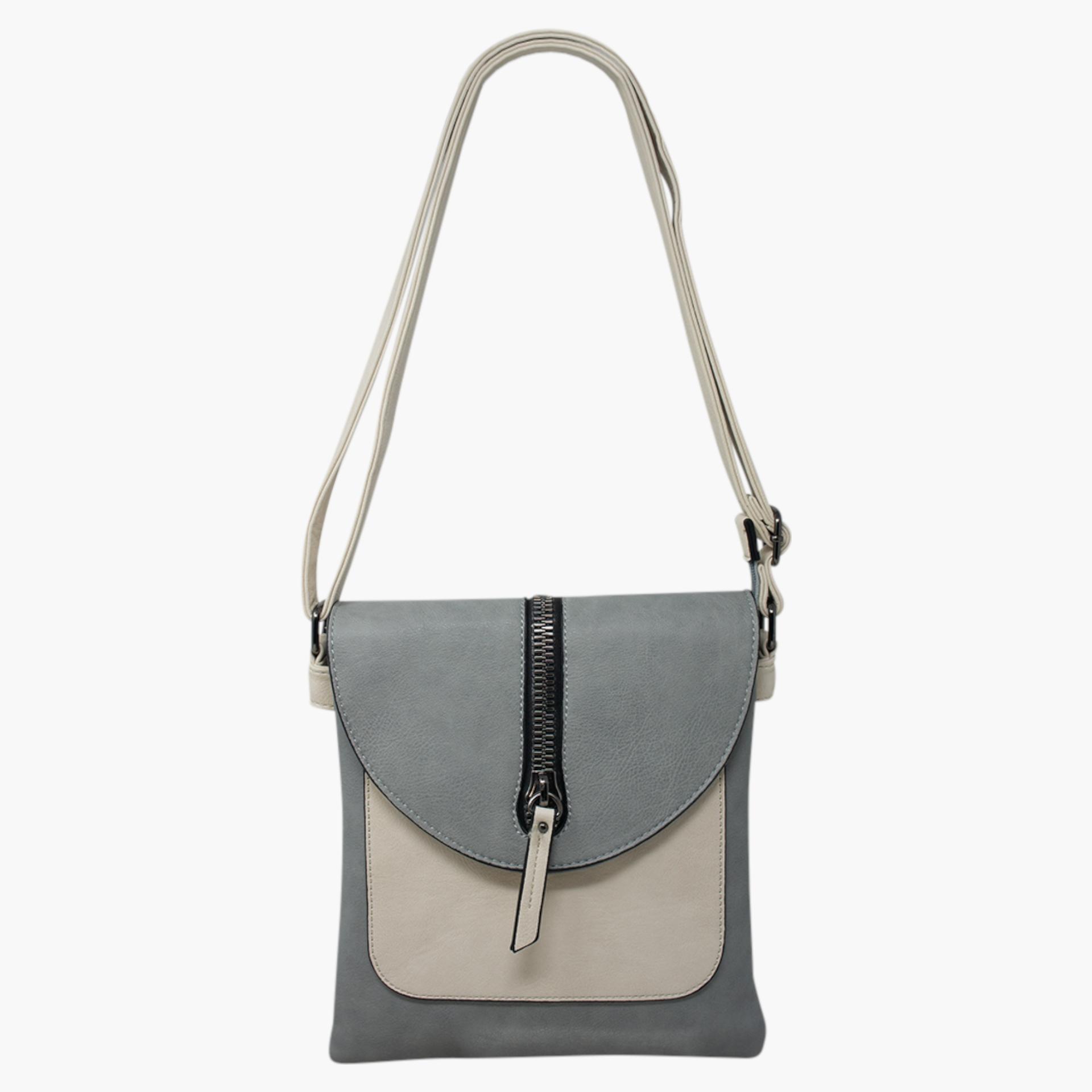 Cross Body Bag with Zip Detail - Grey/Cream
