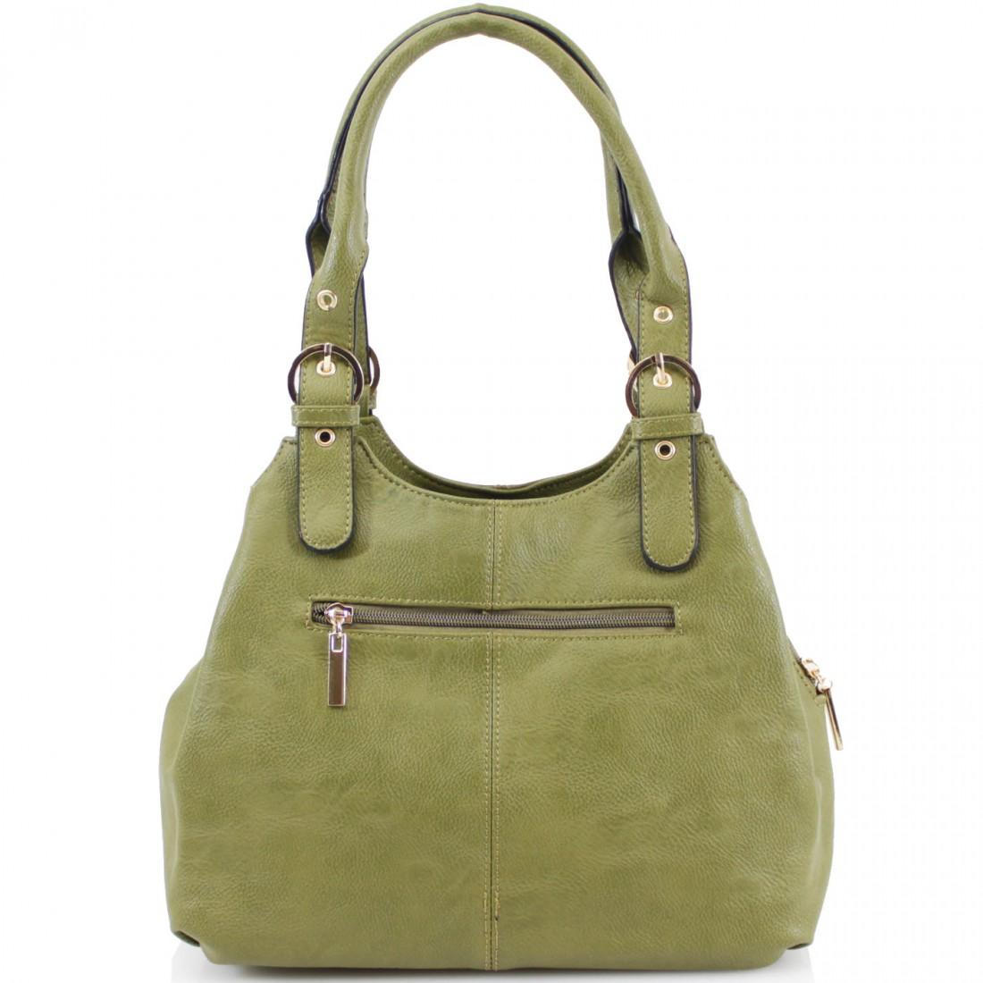 3 Section Buckle Bag - Khaki