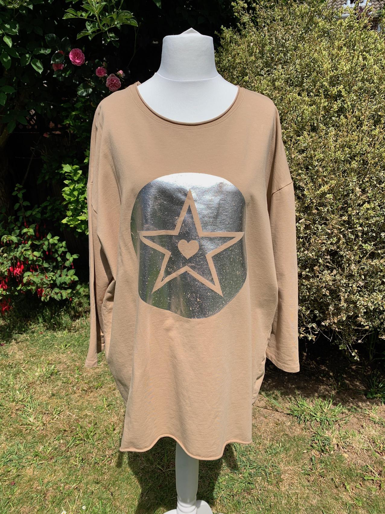 Italian Oversize Metallic Star Print Cotton Jersey Top - Various Colours