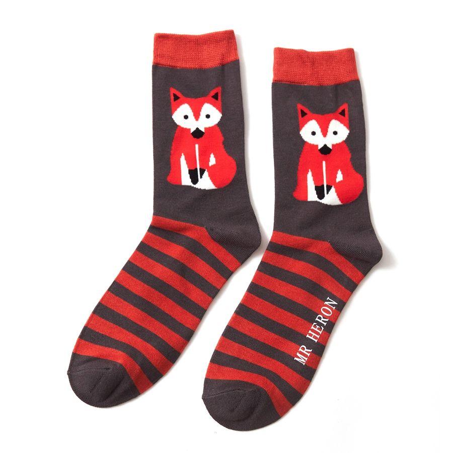 Men's Fox & Stripes Bamboo Socks - Grey