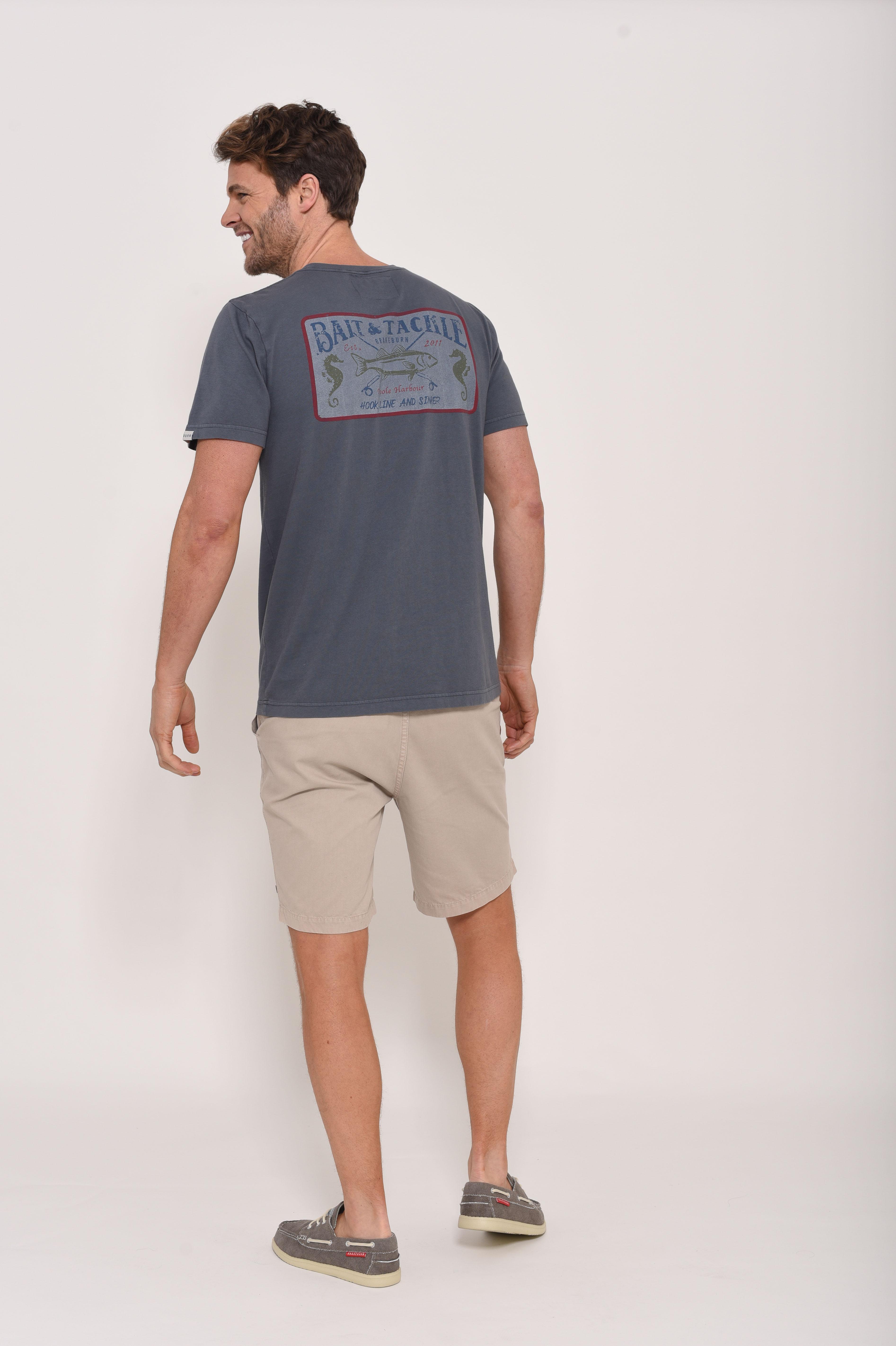 Brakeburn Fish T-Shirt - Slate Blue