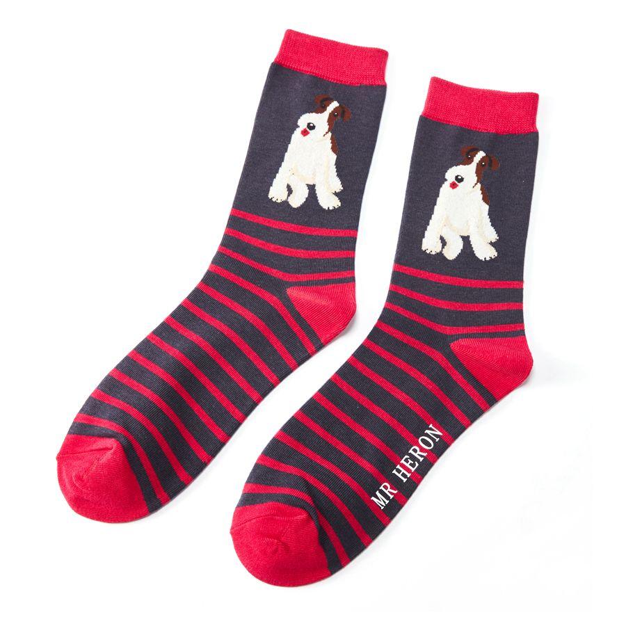 Men's Fox Terrier Stripes Bamboo Socks - Navy