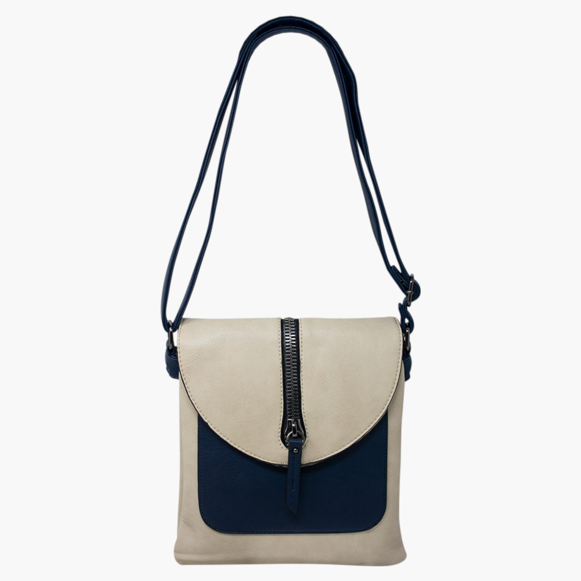 Cross Body Bag with Zip Detail  - Cream/Navy Blue