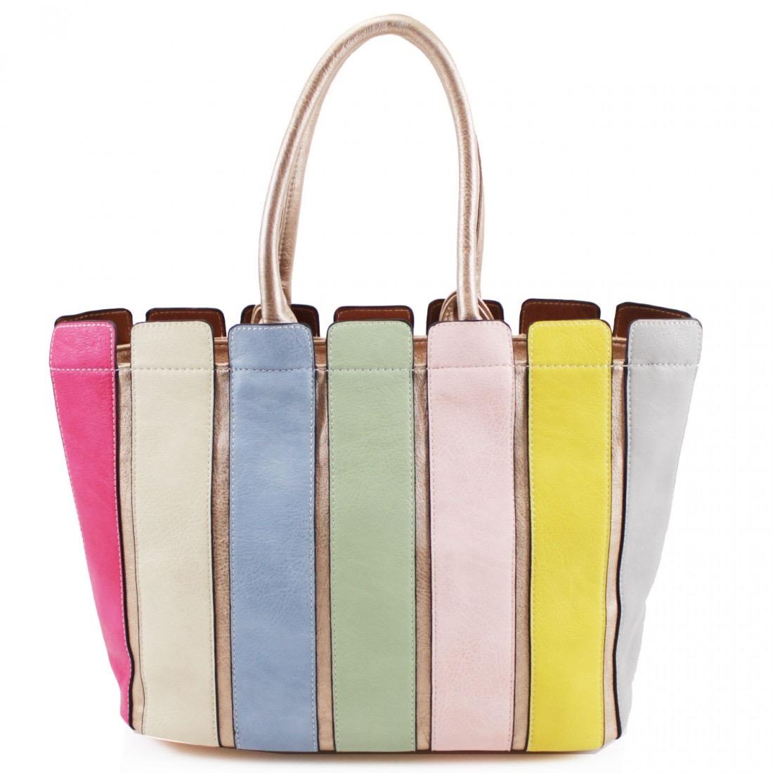 Multi Colour Striped Handbag - Gold