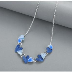 Blue Hearts Necklace & Earrings Set