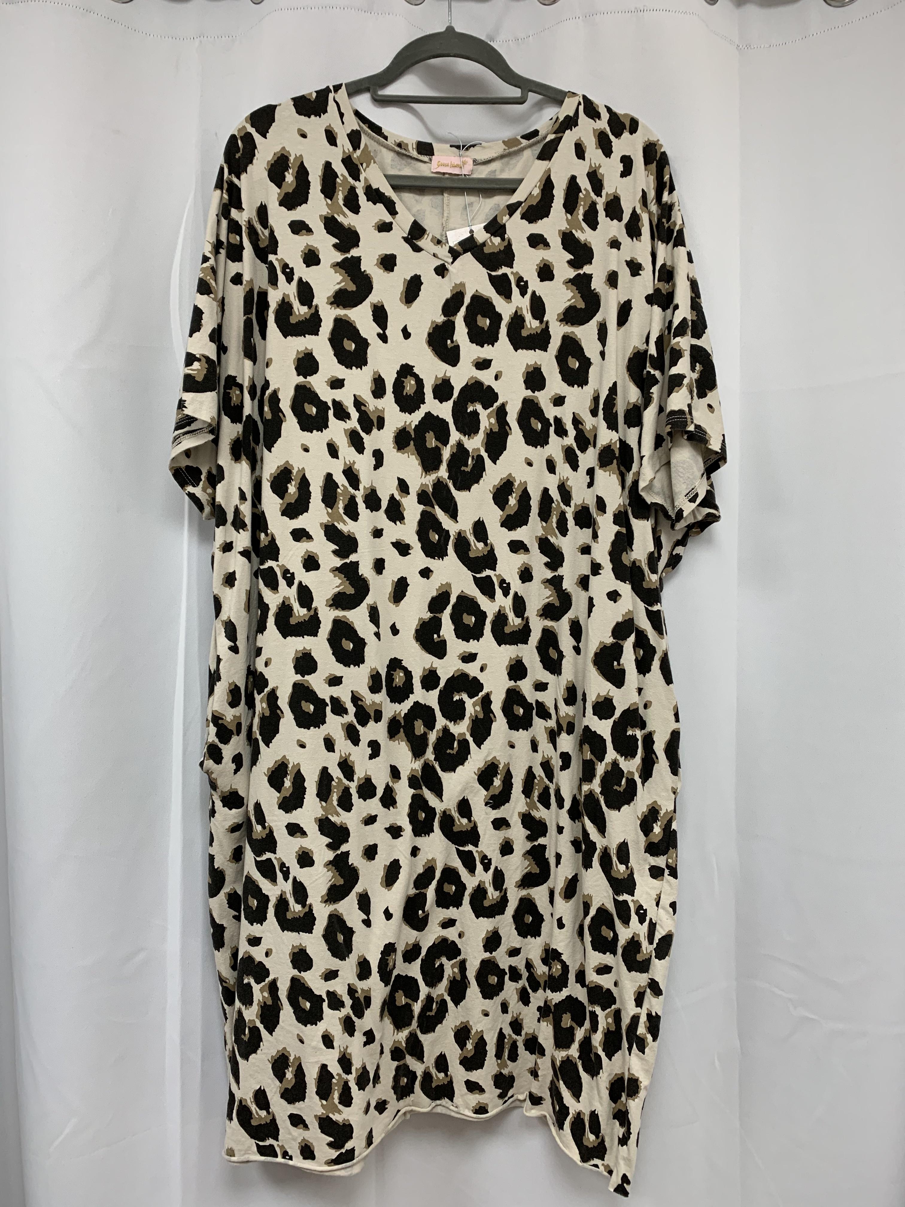 Animal Print V Neck Oversized Dress - Various