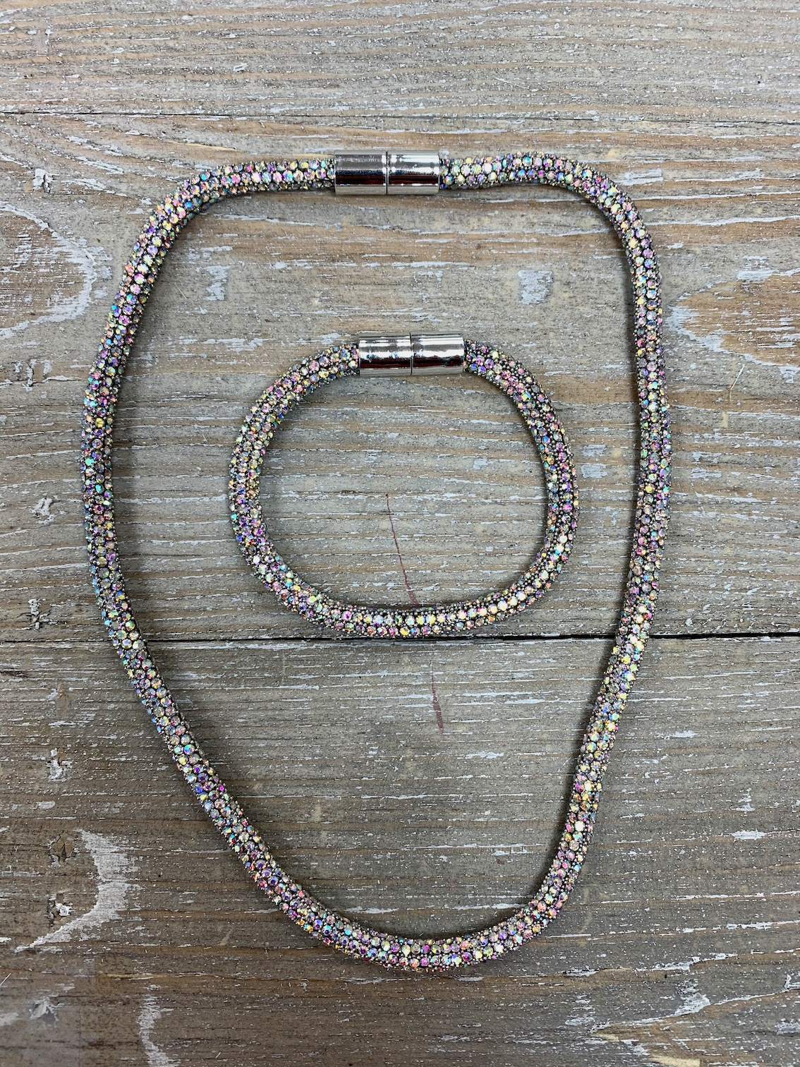 Crystal Short Magnetic Necklace and Bracelet Set - Various Colours