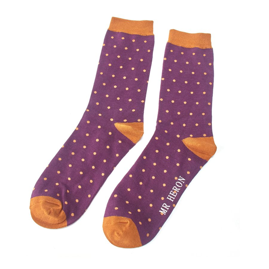 Men's Polka Dots Bamboo Socks - Purple
