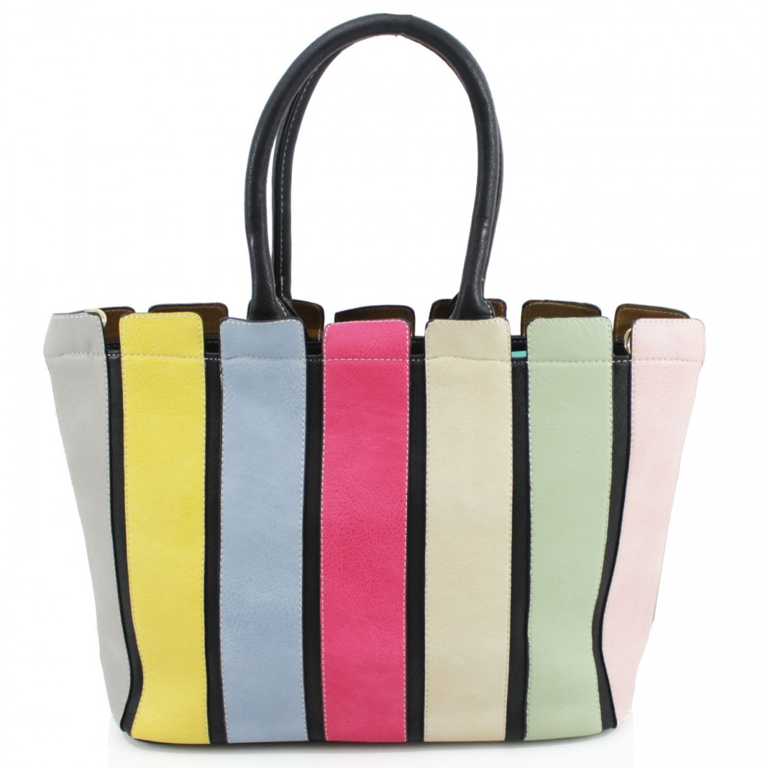 Multi Colour Striped Handbag - Black