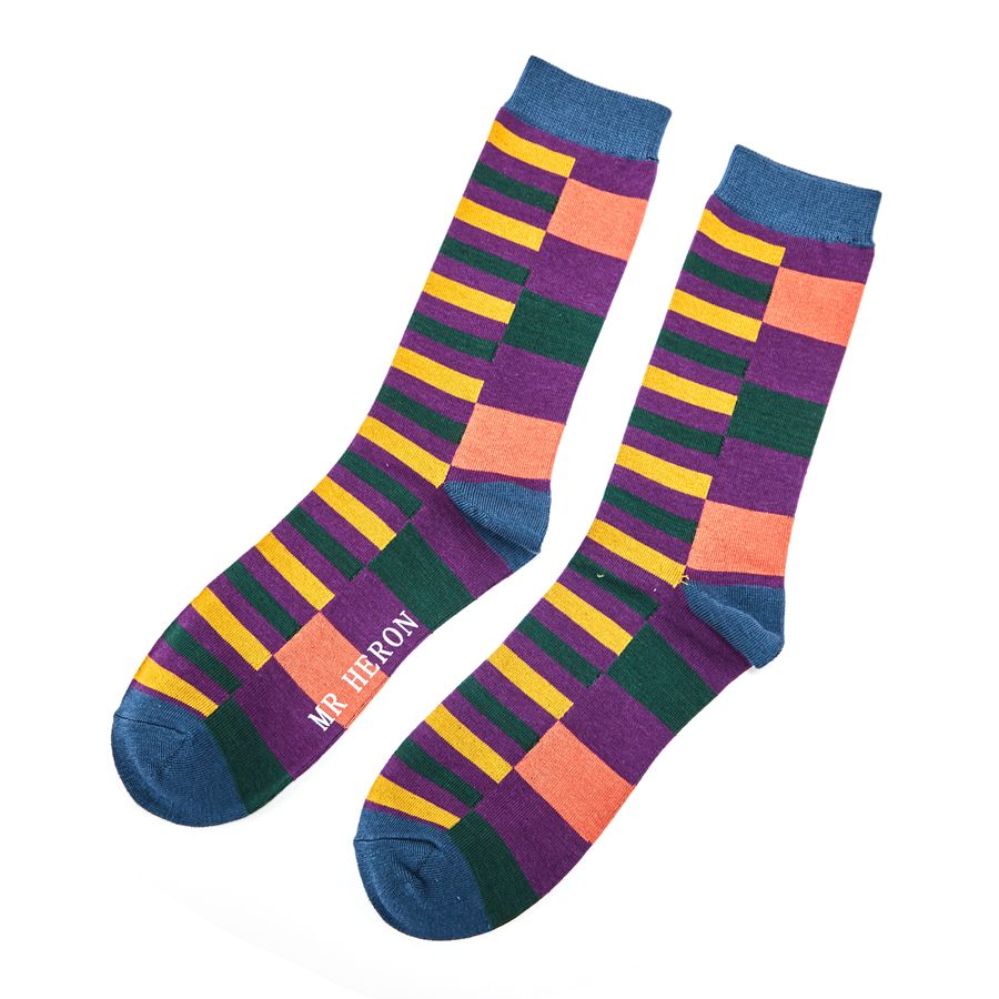 Men's Multi Stripe Bamboo Socks - Purple