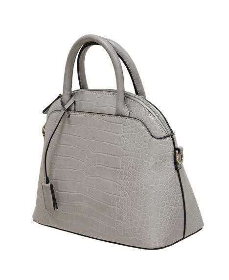 Croc Print Grab Handbag - Grey