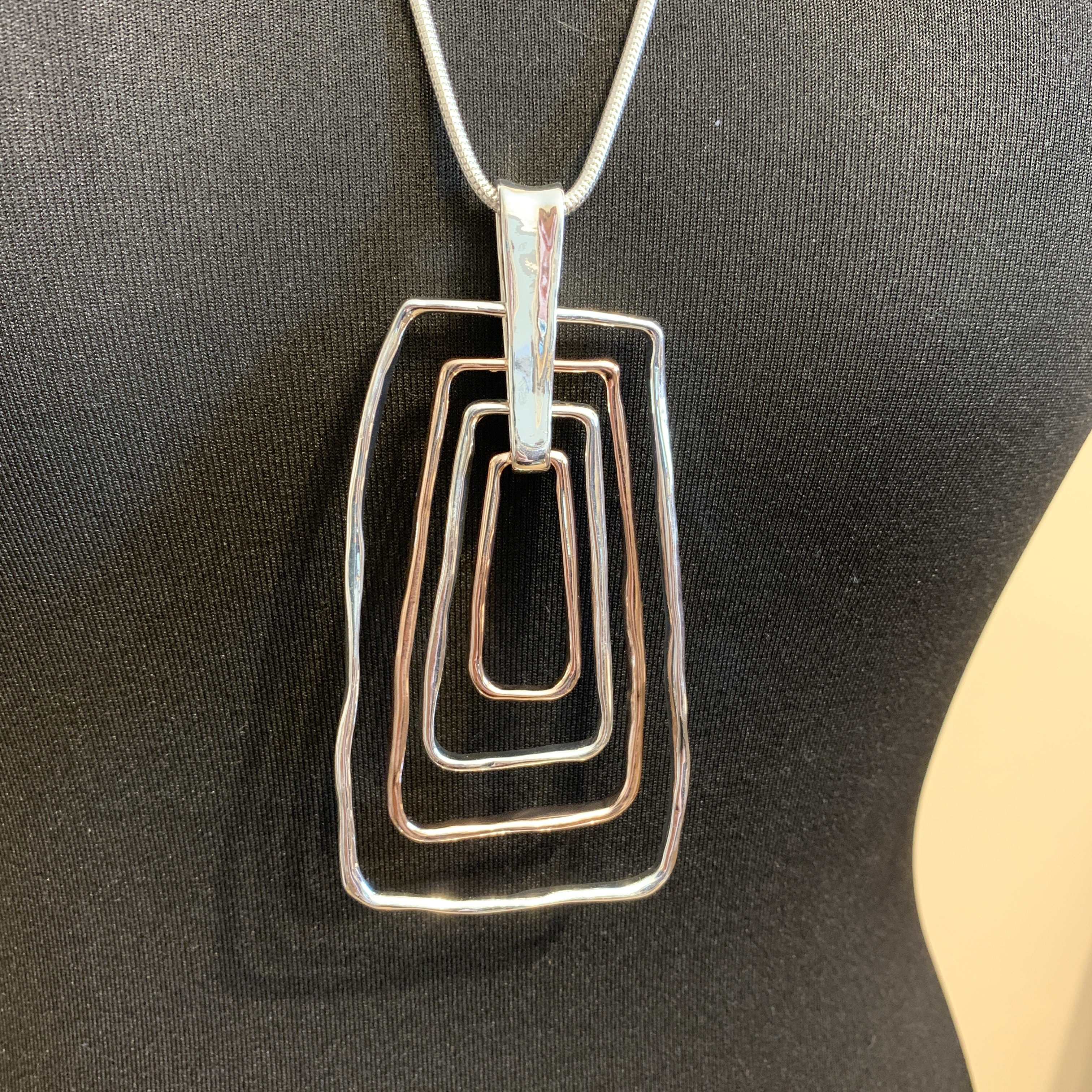 Geometric Long Necklace - Rose Gold/Silver