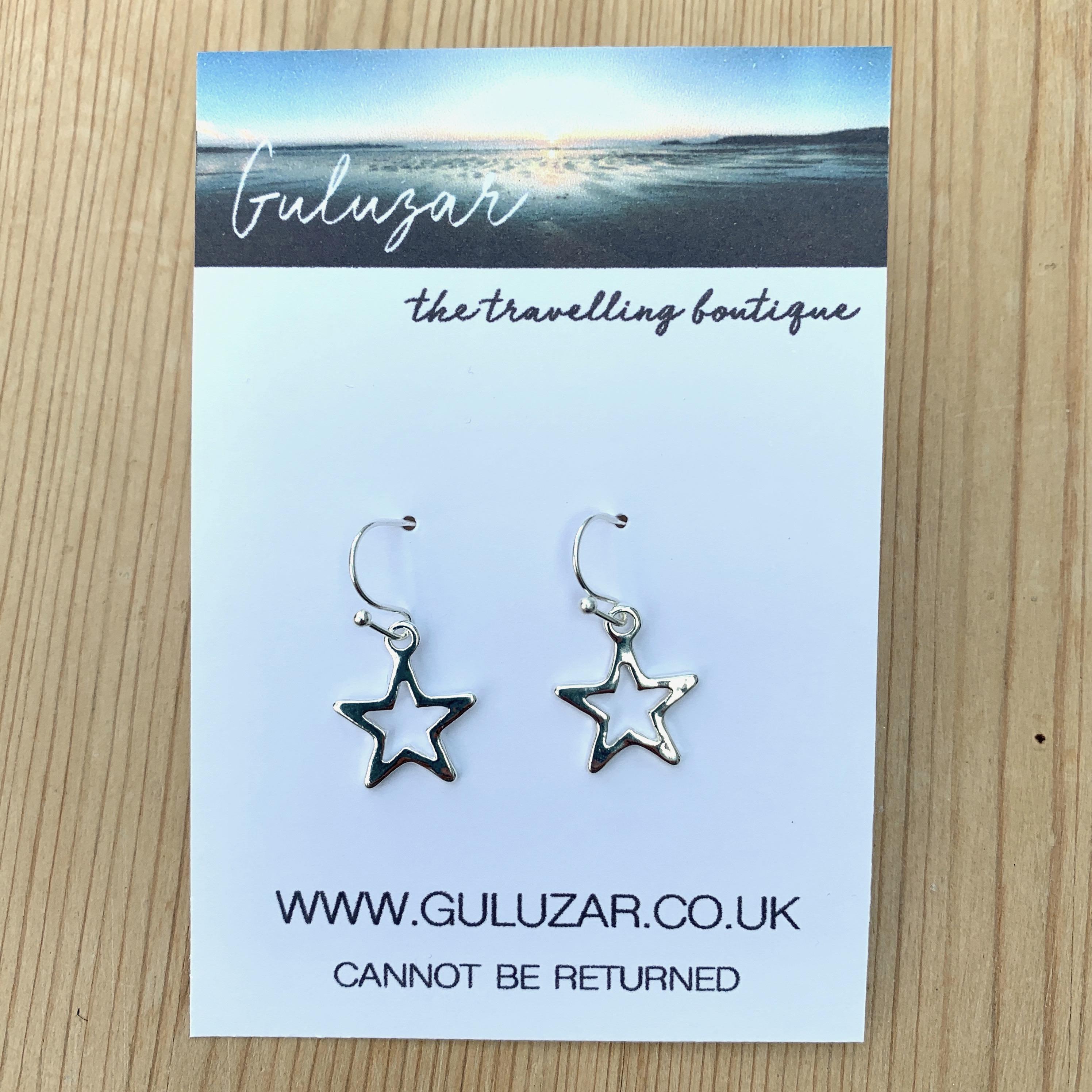 Drop Star Outline Earrings - Silver