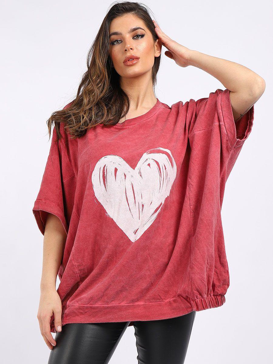 Acid Wash Heart Sweater - Various