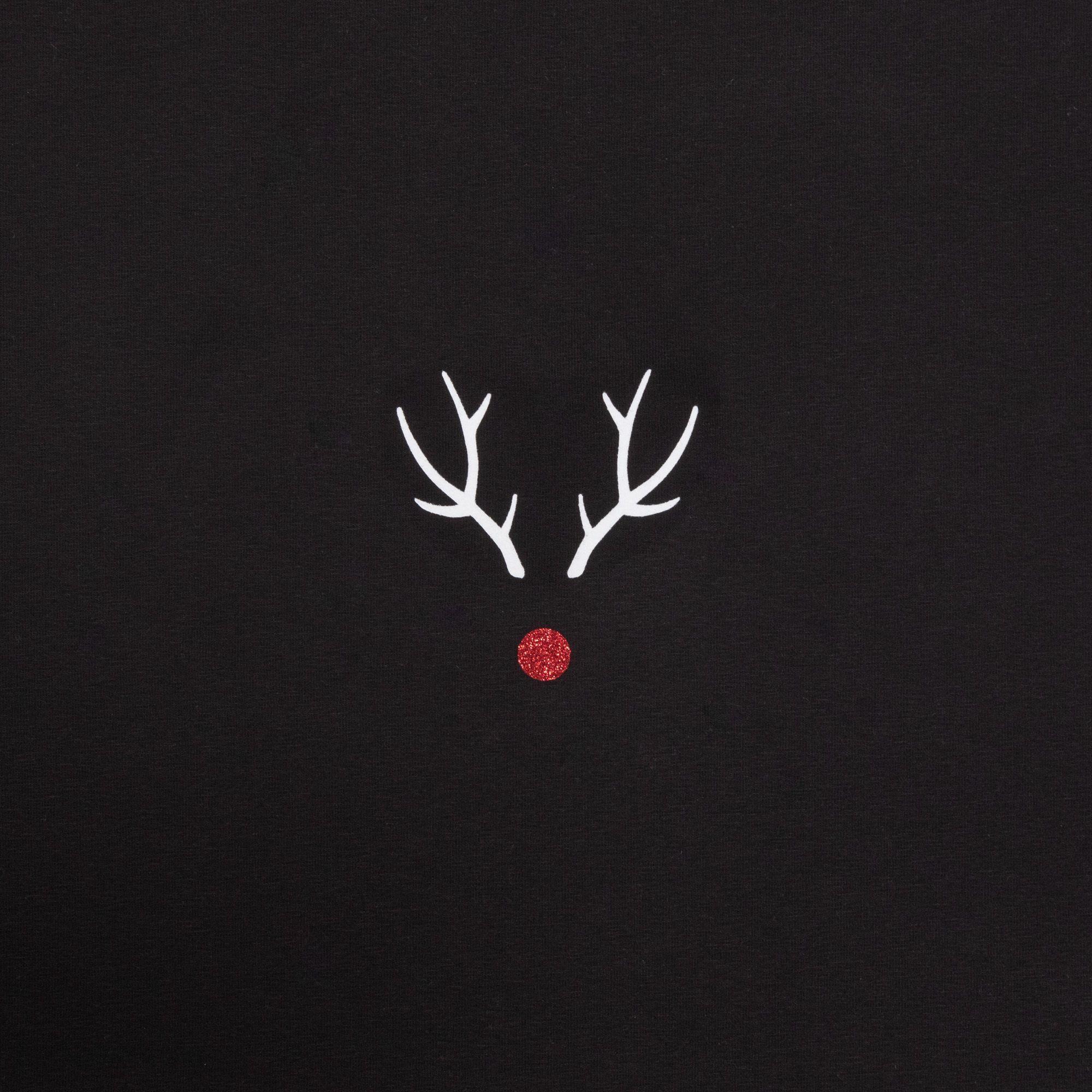 Chalk Reindeer Casual Top M/L - Black