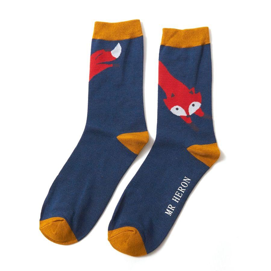 Men's Leaping Fox Bamboo Socks - Teal