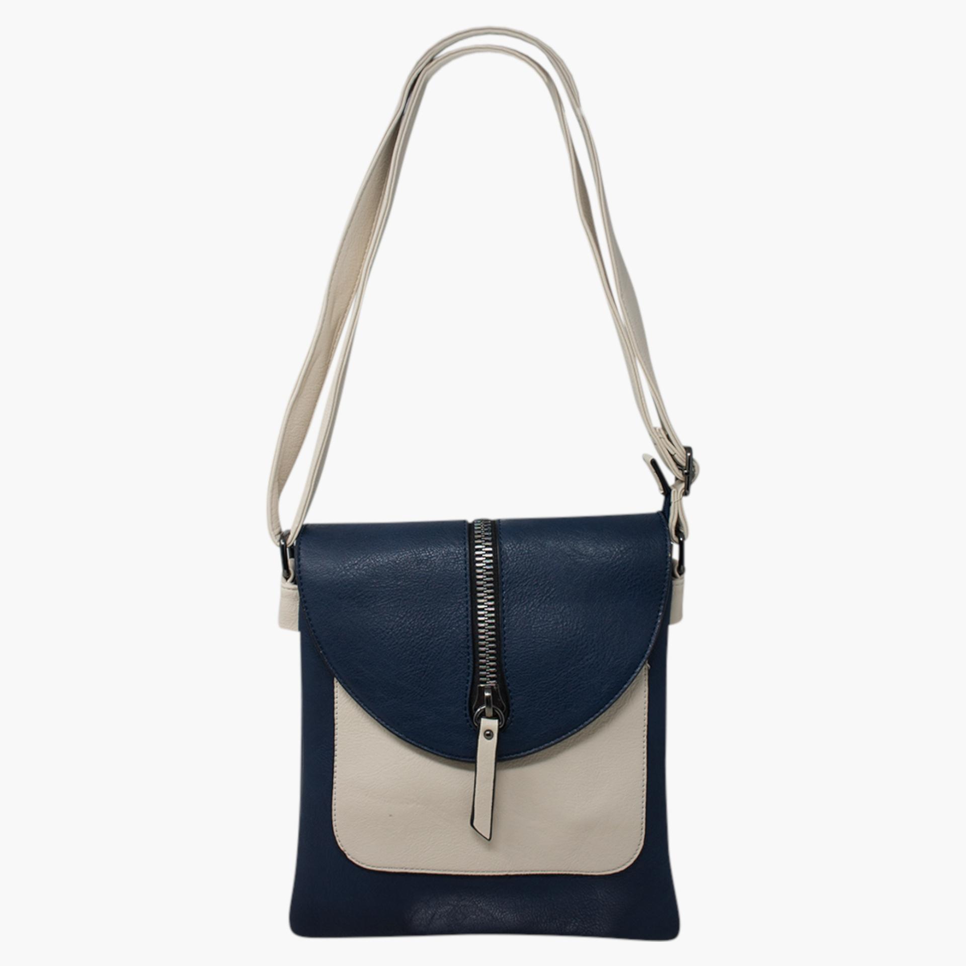 Cross Body Bag with Zip Detail - Navy Blue/Cream