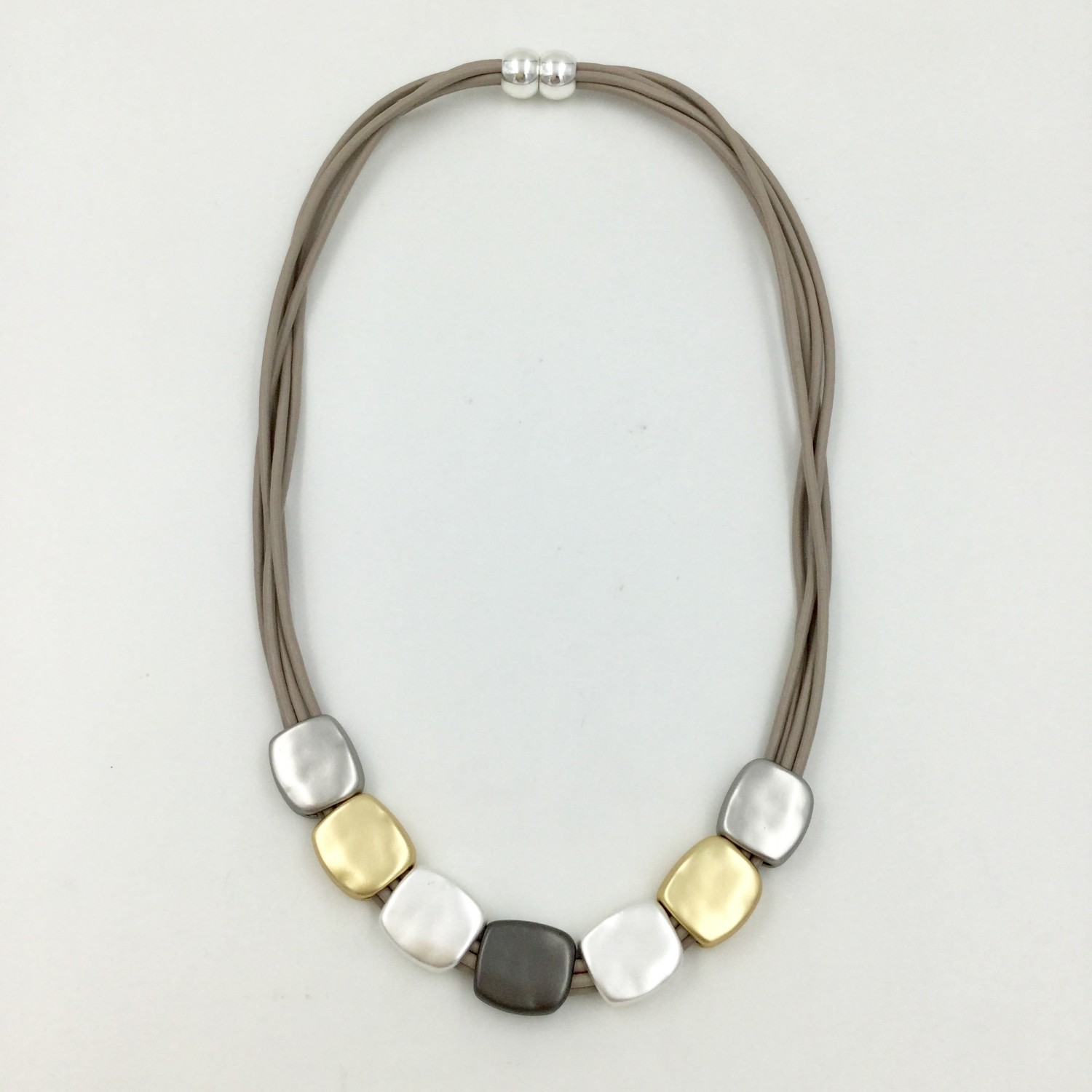 Magnetic Square Pebble Necklace - Taupe/Gold