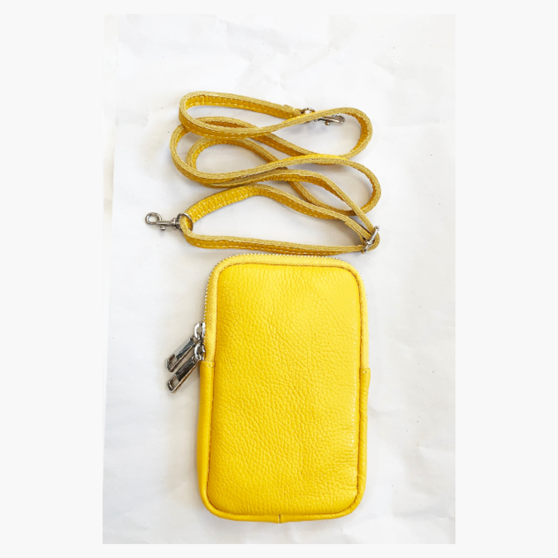 Real Leather Cross Body Mobile Pouch - Yellow