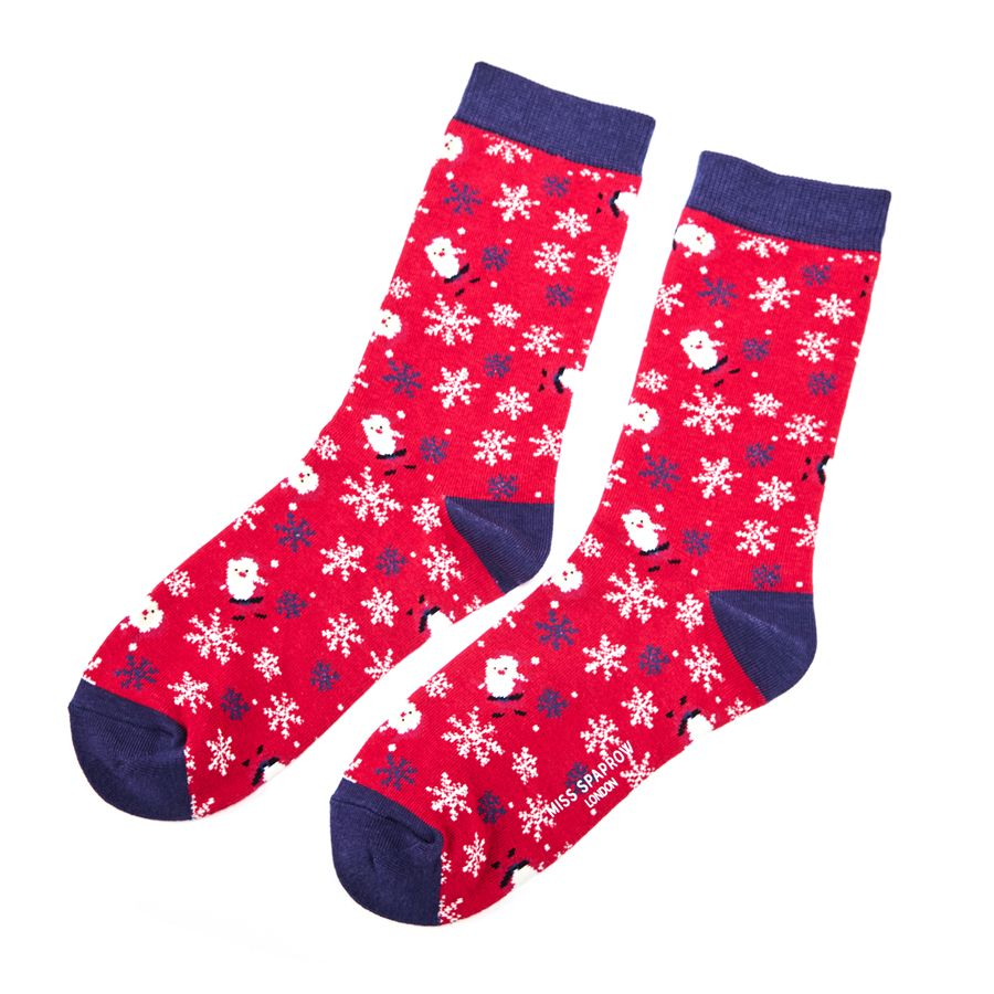 Ladies Santa Bamboo Socks - Red
