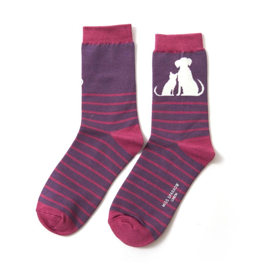 Ladies Cat & Dog Stripe Bamboo Socks - Purple