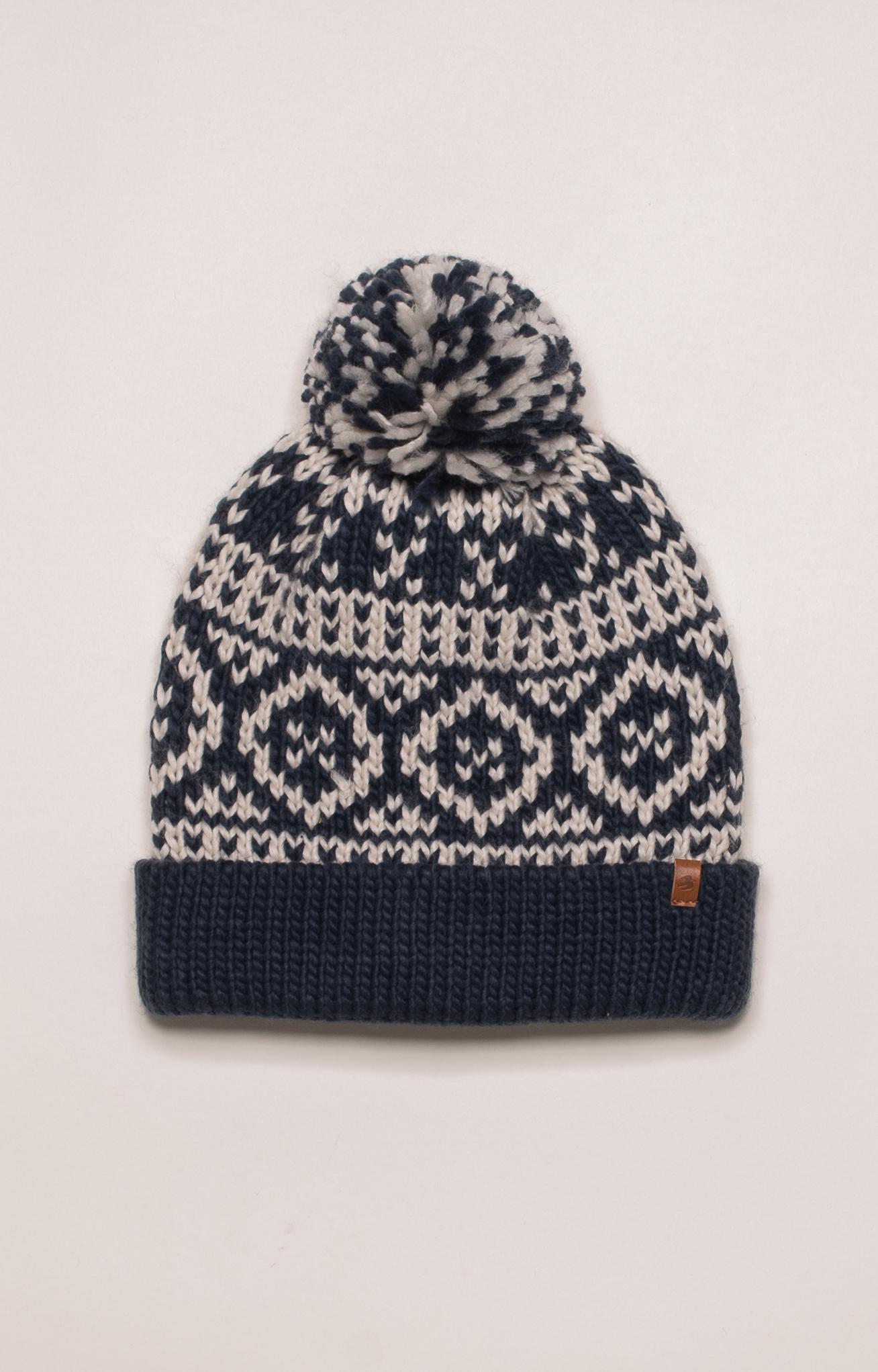Brakeburn Chunky Fairisle Knit Hat - Navy Blue