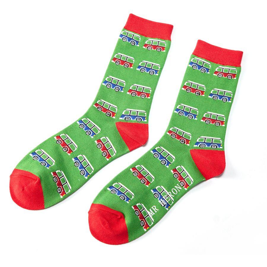 Men's Campervan Bamboo Socks - Green