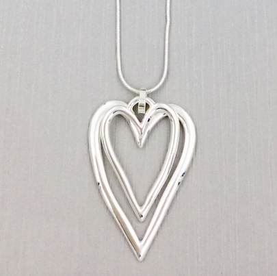 2 Hanging Hearts Long Necklace - Silver