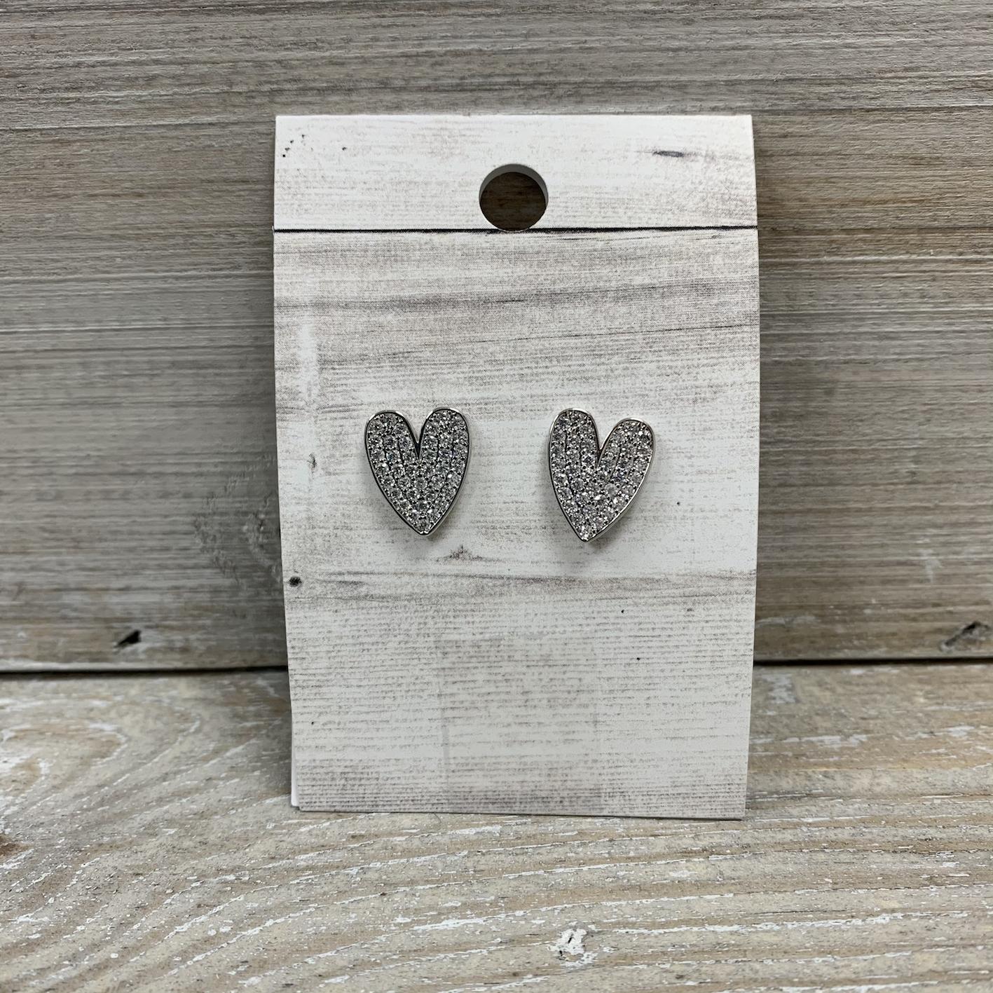 Sparkle Heart Earrings - Silver