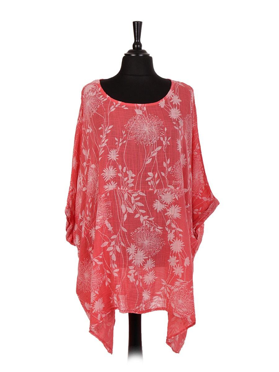 Italian Floral Print Plus Size Cotton Tunic Top - Various Colours