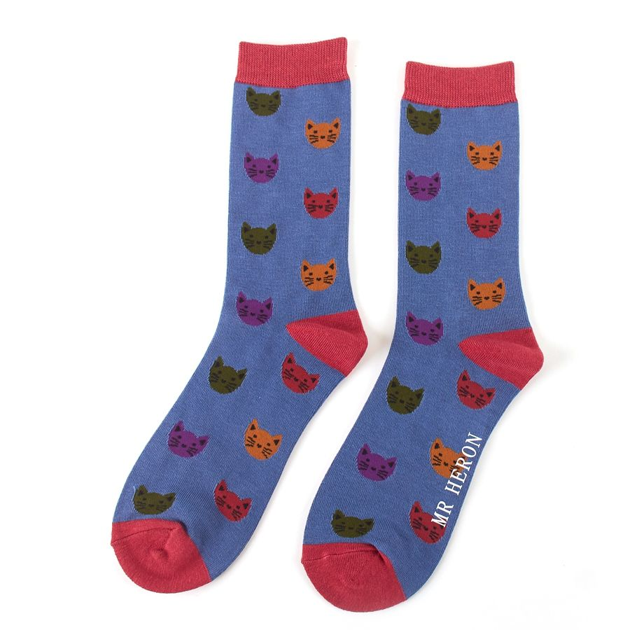 Men's Kitty Faces Bamboo Socks - Blue
