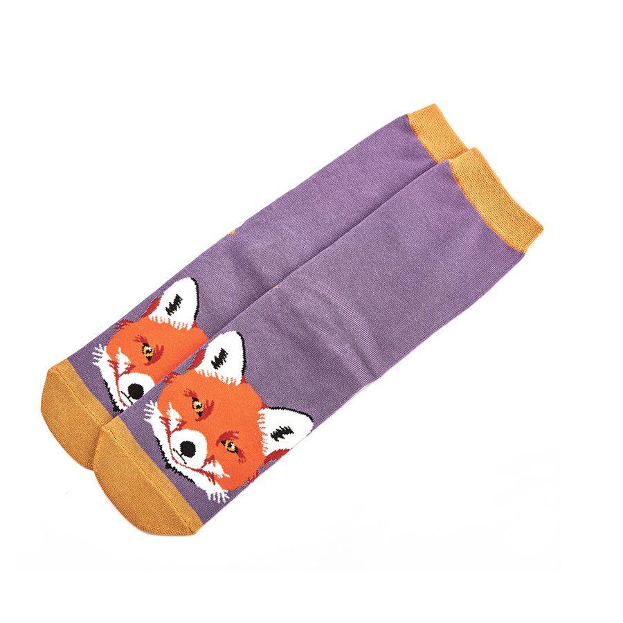 Ladies Fox Face Bamboo Socks - Purple