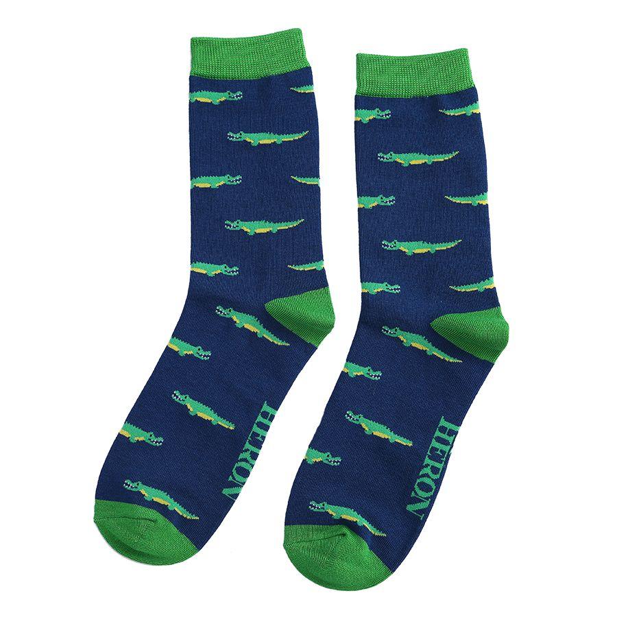 Men's Crocodile Bamboo Socks - Navy