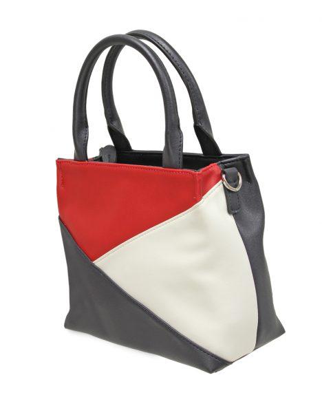 Triple Colour Grab Handbag - Navy/Red