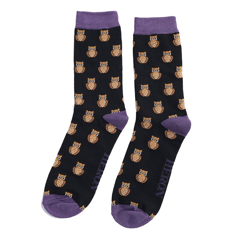 Men's Owls Bamboo Socks - Black