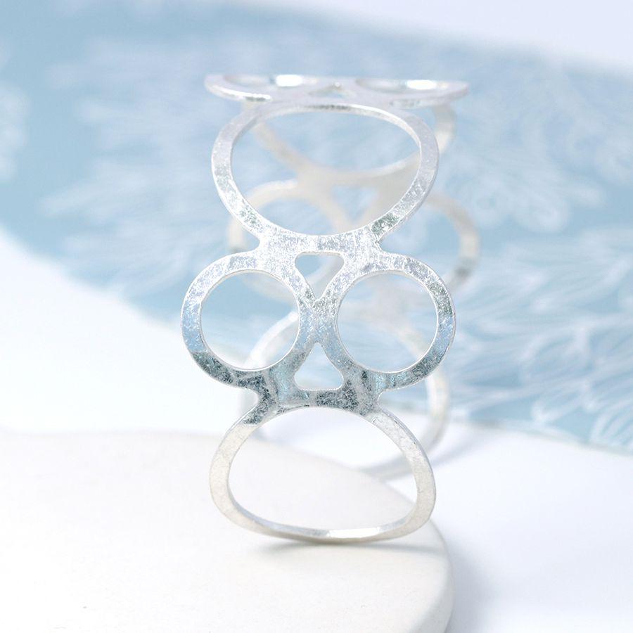 Multi Circle Bangle - Silver Plated